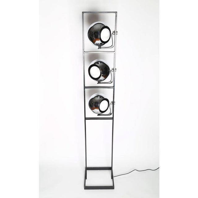 Industrial 1970's VINTAGE ITALIAN THREE-HEAD CHROME AND STEEL FLOOR LAMP For Sale - Image 3 of 8