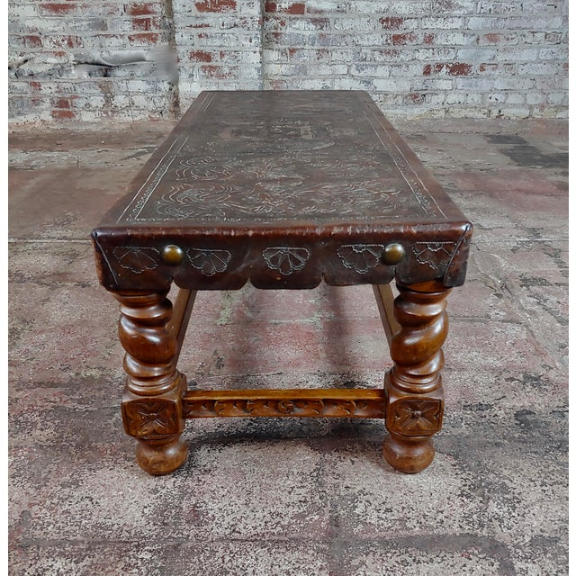 1920s Antique Spanish Colonial Bench-Beautiful Carved Wood & Embossed Leather For Sale - Image 5 of 10