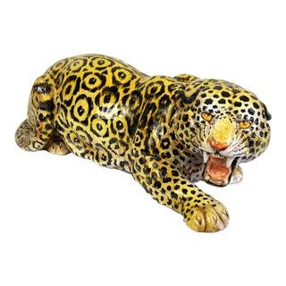 Large Italian Terra-Cotta Crouching Leopard Figure