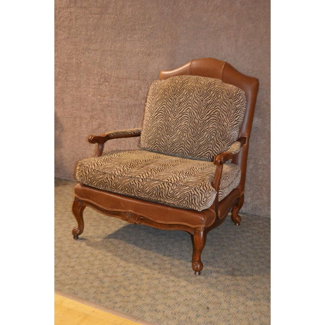 Animal Skin Ethan Allen Multi Fabric Oversized Chair & Ottoman For Sale - Image 7 of 13