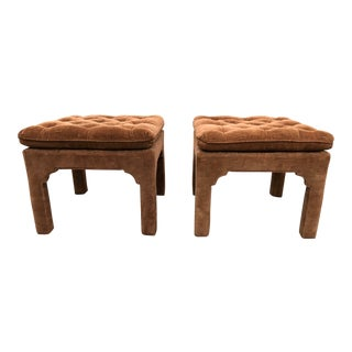 Vintage Milo Baughman Hollywood Regency Chinoiserie Pagoda Benches - a Pair For Sale