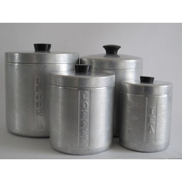 Mid-Century Aluminum Kitchen Canisters - Set of 4 - Image 2 of 4