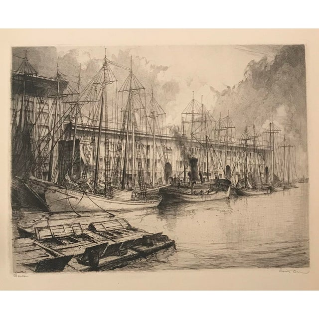 This is a vintage print by artist Louis Orr (1976-1966). The 1928 piece depicts the Boston Fish Pier as it appeared in...