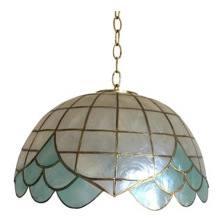Blue Lotus Capiz Pendant Light For Sale