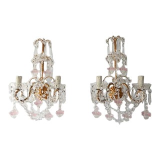 French Maison Bagues Style Crystal Pink Ribbon Murano Glass Sconces For Sale