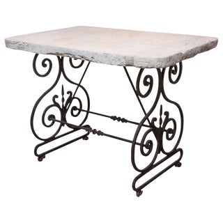 19th Century Butchers Table with Thick Limestone Top