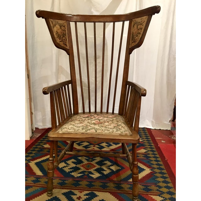 Austrian Walnut Barrel Back Wing Chair For Sale - Image 9 of 9