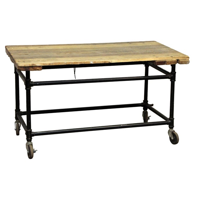 Rustic Work Table on Wheels For Sale - Image 6 of 6