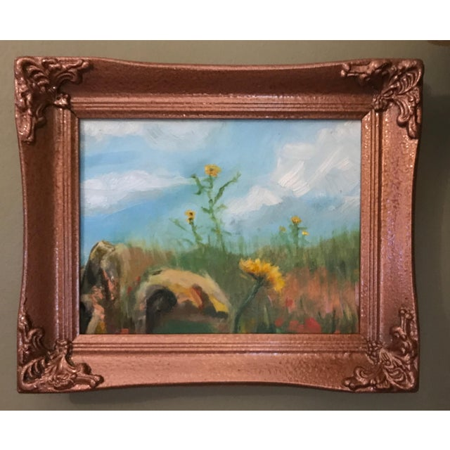 Sunflowers in Field Original Framed Oil Painting For Sale - Image 4 of 7