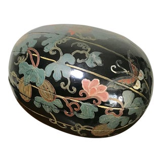 Vintage Chinoiserie Black Lacquer Painted Wooden Egg Box With Pumpkins and Butterflies For Sale