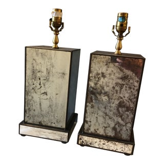1970s Rustic Mirrored Lamps on Mirrored Base - a Pair