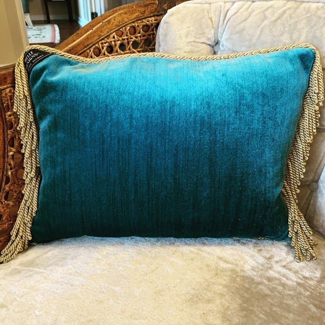 Stunning one-of-a-kind vintage needlepoint throw pillow by Belle Designs Vintage Originals. Gorgeous teal color petite...