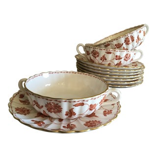English Spode Porcelain Red Colonel Soups or Bouillons - Set of 8 For Sale