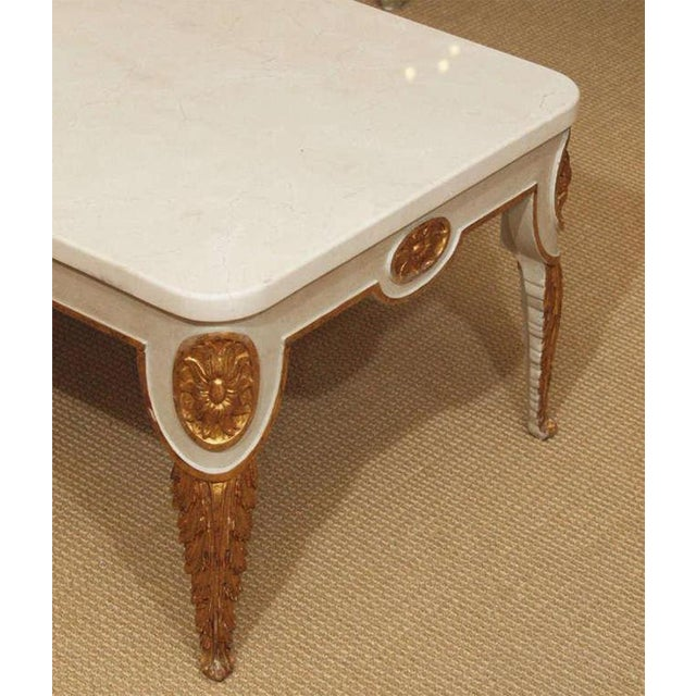 Marble Regency Style Coffee Table With White Marble Top For Sale - Image 7 of 8