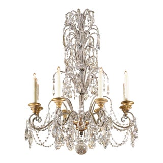 Italian Crystal Eight-Light Chandelier with Beaded Arms and Giltwood Bobèches For Sale