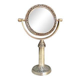 Silver Rotating Tabletop Vanity Mirror For Sale