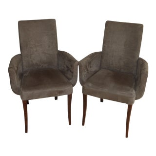 Minimalistic Dinec Brush Micro Suede Occasional Arm Chairs - Pair