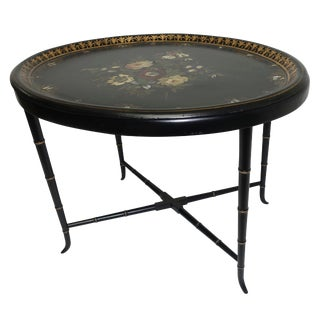 Papier Mâché Hand Painted Tray Table With Mother of Pearl Inlay, 19th Century For Sale