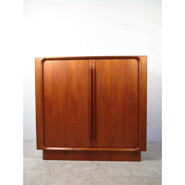 1970s Danish Modern Solid Teak Tamboured Door Storage Cabinet For Sale In Seattle - Image 6 of 6