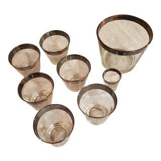 1960s Silver Rimmed Vintage Barware Set - 8 Piece Set For Sale