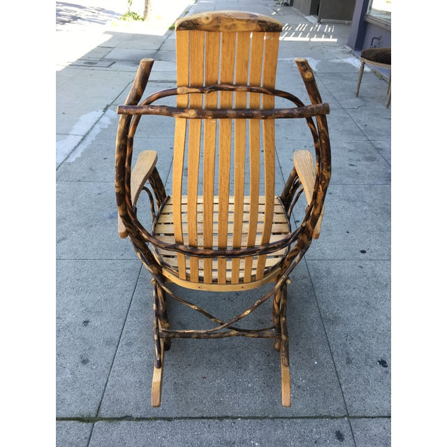 Late 20th Century Rustic Adirondack Oak and Hickory Twig Rocking Chair For Sale In Los Angeles - Image 6 of 11