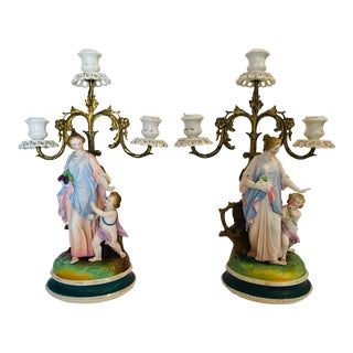 19th Century Porcelain and Bronze Girandoles - a Pair For Sale