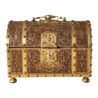 Circa 1910 English Brass and Leather Casket For Sale