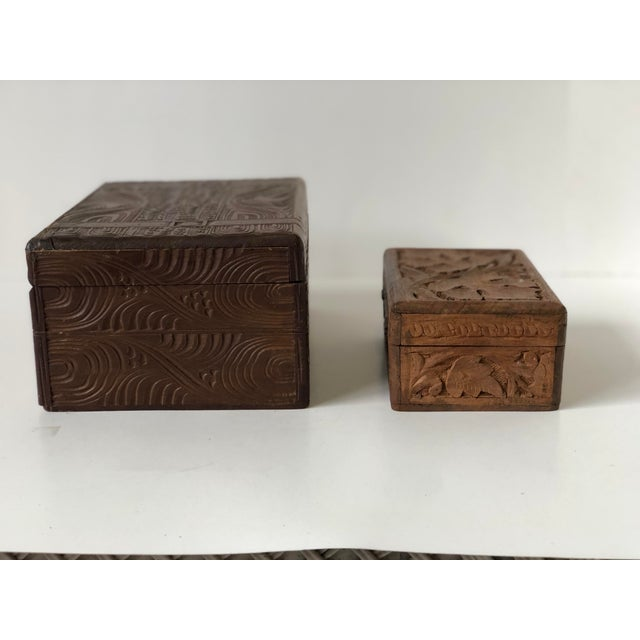 Wood English Wooden Carved Boxes, 19th Century - a Pair For Sale - Image 7 of 13