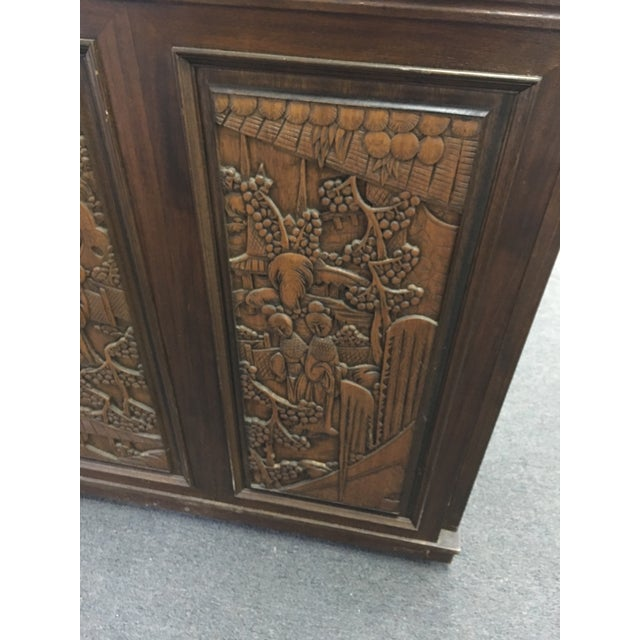 Asian Teak Marble Top Fold Out Bar For Sale - Image 5 of 11