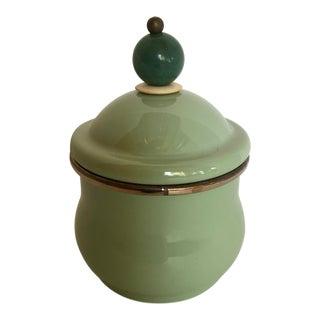 McKenzie Childs Green Enamel Sugar Bowl