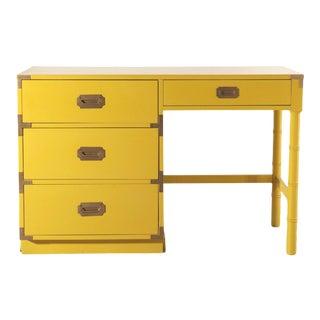Lacquered Bright Yellow Campaign Desk For Sale