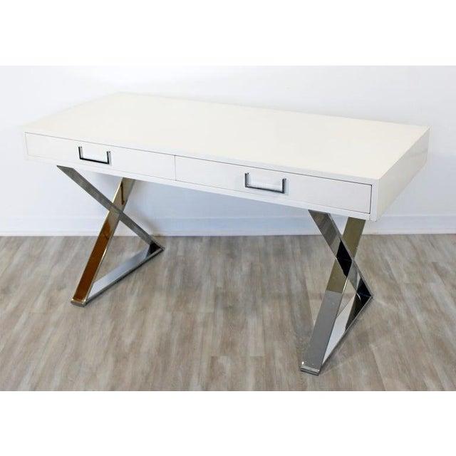 1960s Milo Baughman Mid-Century Modern Campaign White Lacquer Chrome X Base Desk For Sale - Image 12 of 12