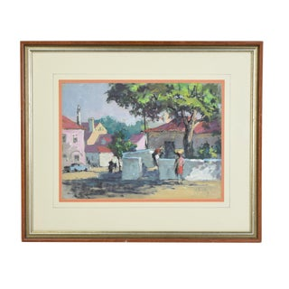 1969 Frank Beatty Cascar's St. Portugal Pastel Painting For Sale