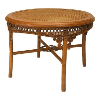 American Victorian Wicker Dining Table For Sale