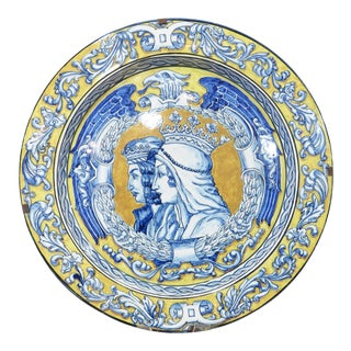 Antique Spanish Glazed Plate Featuring Ferdinand and Isabella From Seville For Sale
