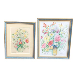 Original Floral Watercolor Paintings by American Folk Artist, Dorothy Strauser - A Pair For Sale
