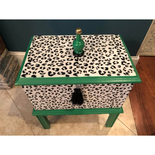 Leopard Motif Black and White Chest For Sale In Savannah - Image 6 of 10