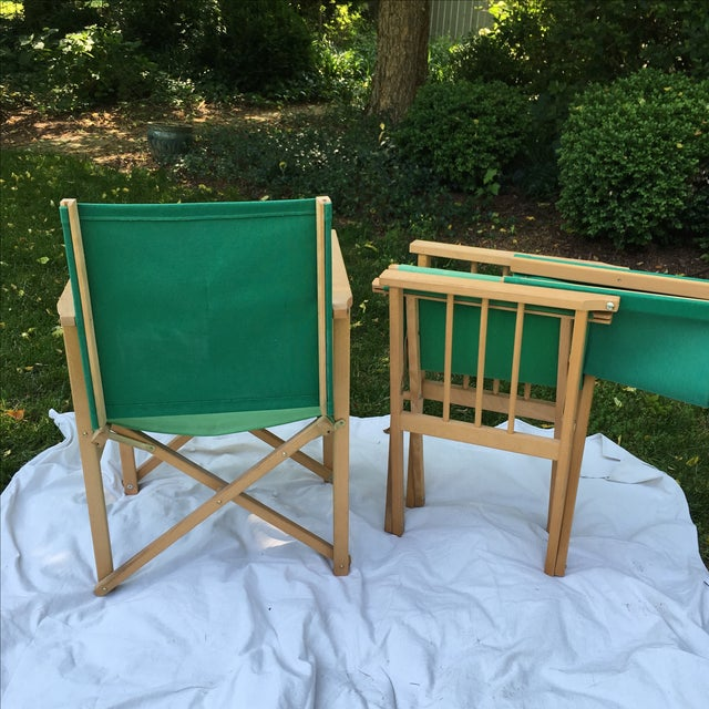Canvas Vintage Hyllinge Mobler Director's Chairs - Pair For Sale - Image 7 of 7