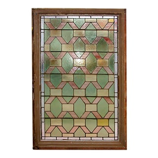 Early 20th Century Geometric Green Yellow and Peach Stained Glass Window For Sale