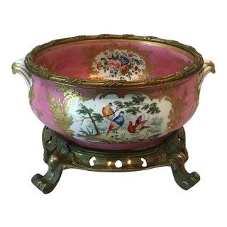 Vintage French Porcelain Floral/Fauna Bowl on Gilt Scroll Base For Sale
