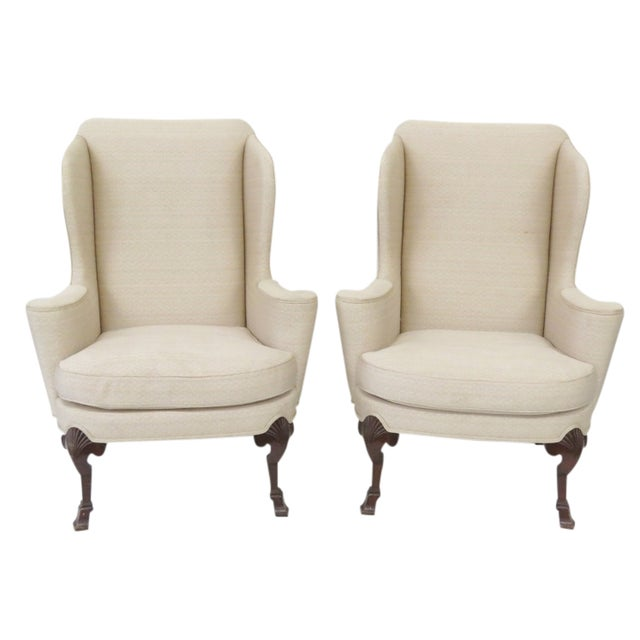 Baker Ivory Wingback Chairs - A Pair - Image 1 of 5