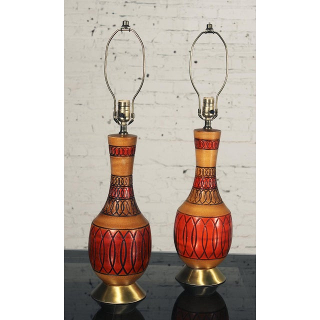 Vintage Royal Haeger Style Red Ceramic Table Lamps - Pair - Image 4 of 7