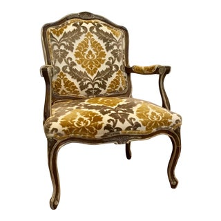 French Provincial Style Thomasville Gold and Gray Velvet Chair For Sale
