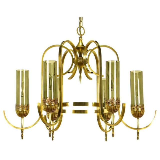 Gold Brass Undulate Arm Six-Light Chandelier with Smoked Hurricane Shades For Sale - Image 8 of 8