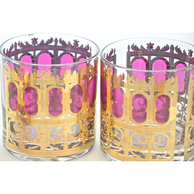Culver 22k Gold & Violet Decanter & Glasses - Set of 6 - Image 5 of 7