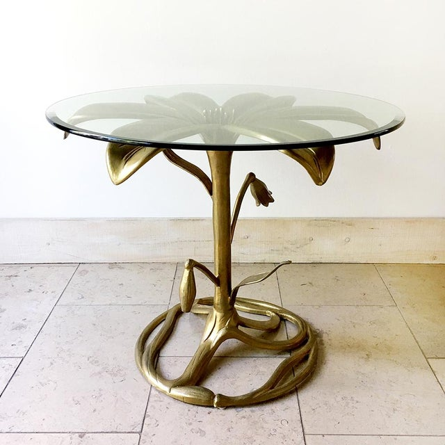 An Arthur Court Gilded Centre Table With Glass Top 1960s For Sale - Image 6 of 6