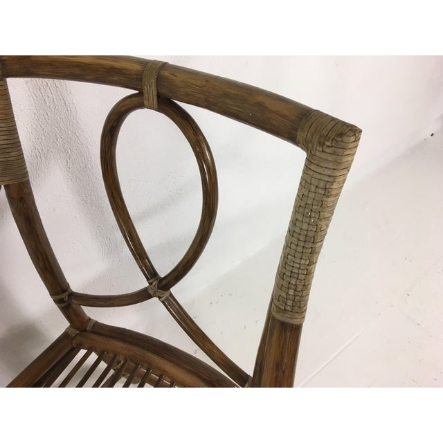 1980s 1980s Mid-Century Modern McGuire Rattan Dining Arm Chairs - Set of 6 For Sale - Image 5 of 13