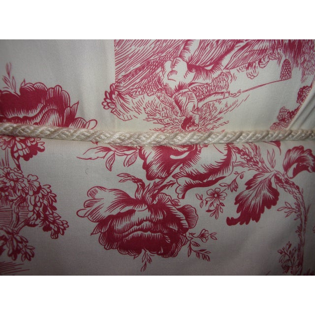 French Rose Toile Ottoman With Custom Braid and Band Trims For Sale In Pittsburgh - Image 6 of 9