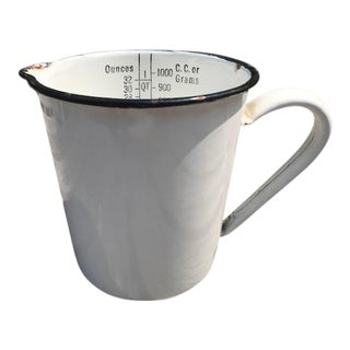 Early 20th Century White Enamel Measuring Cup Pitcher For Sale