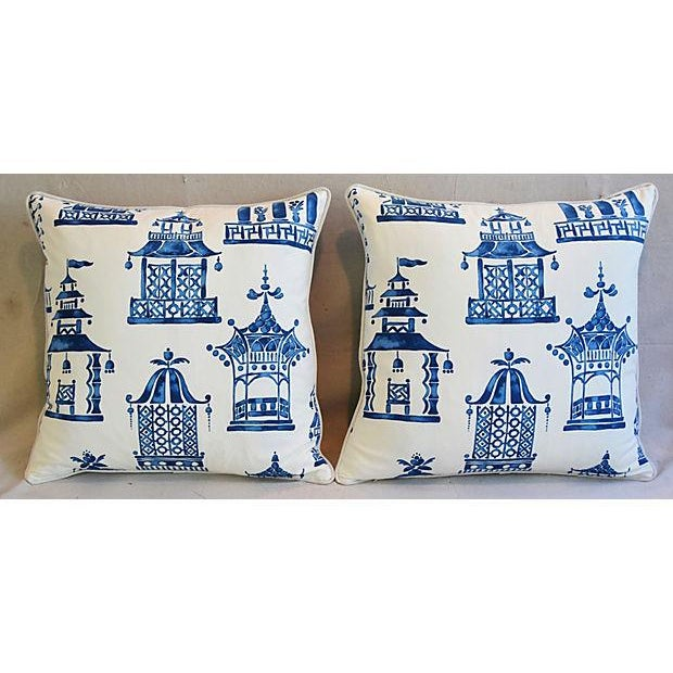 "Blue & White Chinoiserie Pagoda Feather/Down Pillows 24"" Square - Pair For Sale - Image 10 of 11"